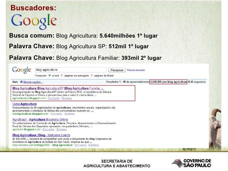 Busca comum:  Blog Agricultura:  5.640milhões 1º lugar   Palavra Chave:  Blog Agricultura SP:  512mil 1º lugar   Palavra C...