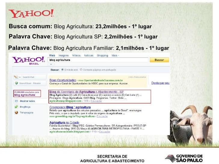 Busca comum:  Blog Agricultura:  23,2milhões - 1º lugar   Palavra Chave:  Blog Agricultura SP:  2,2milhões - 1º lugar   Pa...
