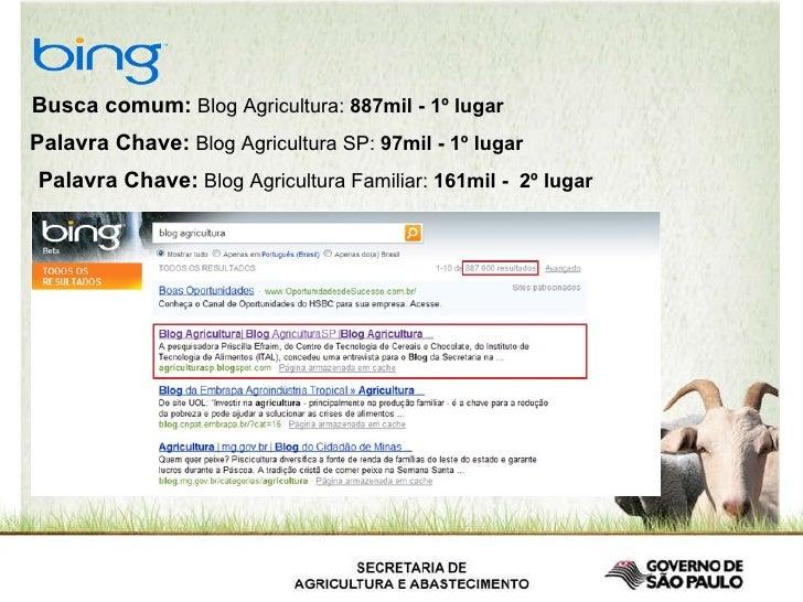 Busca comum:  Blog Agricultura:  887mil - 1º lugar   Palavra Chave:  Blog Agricultura SP:  97mil - 1º lugar   Palavra Chav...