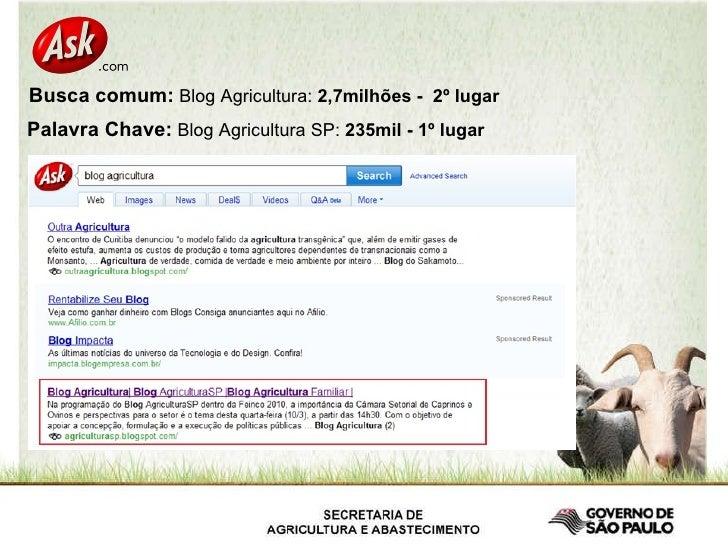 Busca comum:  Blog Agricultura:  2,7milhões -  2º lugar   Palavra Chave:  Blog Agricultura SP:  235mil - 1º lugar