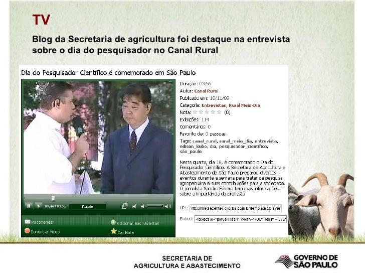 TV Blog da Secretaria de agricultura foi destaque na entrevista sobre o dia do pesquisador no Canal Rural
