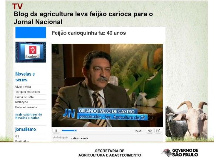 Blog da agricultura leva feijão carioca para o Jornal Nacional TV