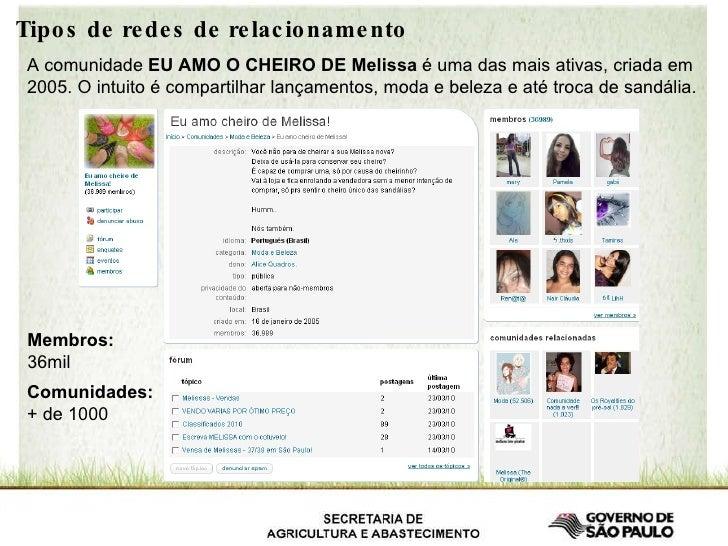 Tipos de redes de relacionamento A comunidade  EU AMO O CHEIRO DE Melissa  é uma das mais ativas, criada em 2005. O intuit...