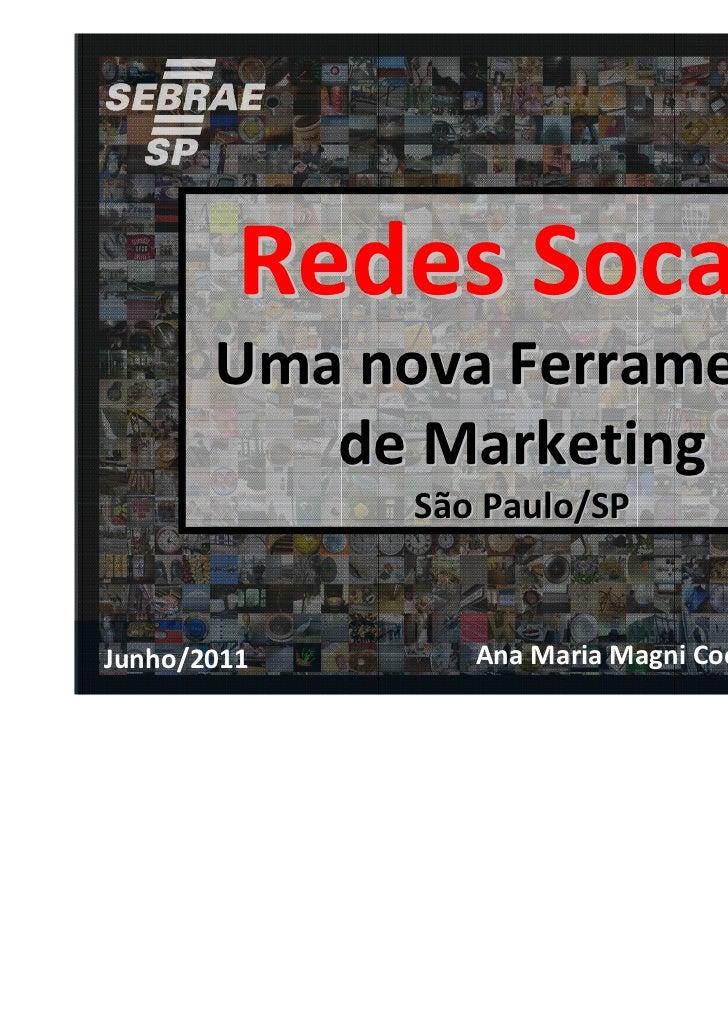 Redes Socais       Uma nova Ferramenta          de Marketing             São Paulo/SPJunho/2011      Ana Maria Magni Coelh...