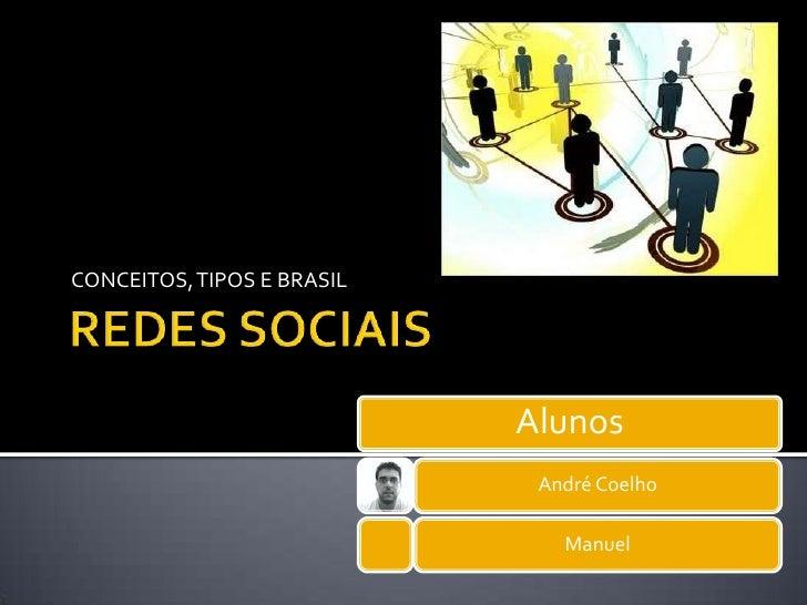 REDES SOCIAIS<br />CONCEITOS, TIPOS E BRASIL<br />