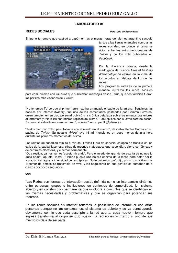 LABORATORIO 01<br />REDES SOCIALESPara: 3do de Secundaria<br />-80010302895El fuerte terremoto que castigó a Japón en las ...