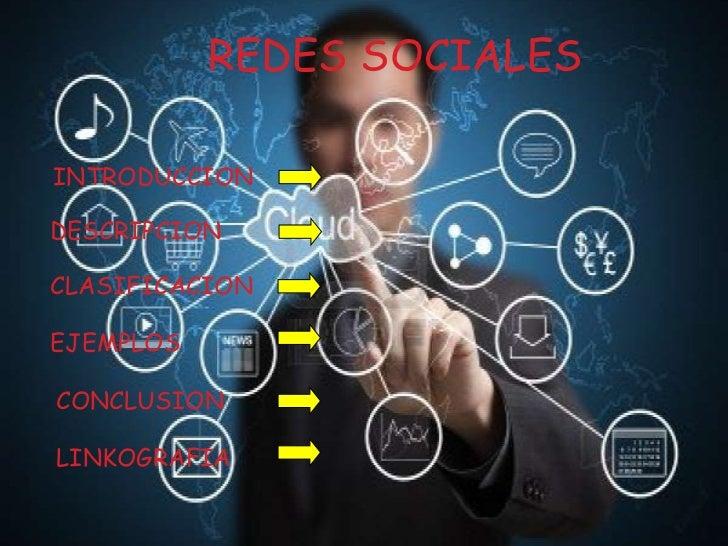REDES SOCIALESINTRODUCCIONDESCRIPCIONCLASIFICACIONEJEMPLOSCONCLUSIONLINKOGRAFIA