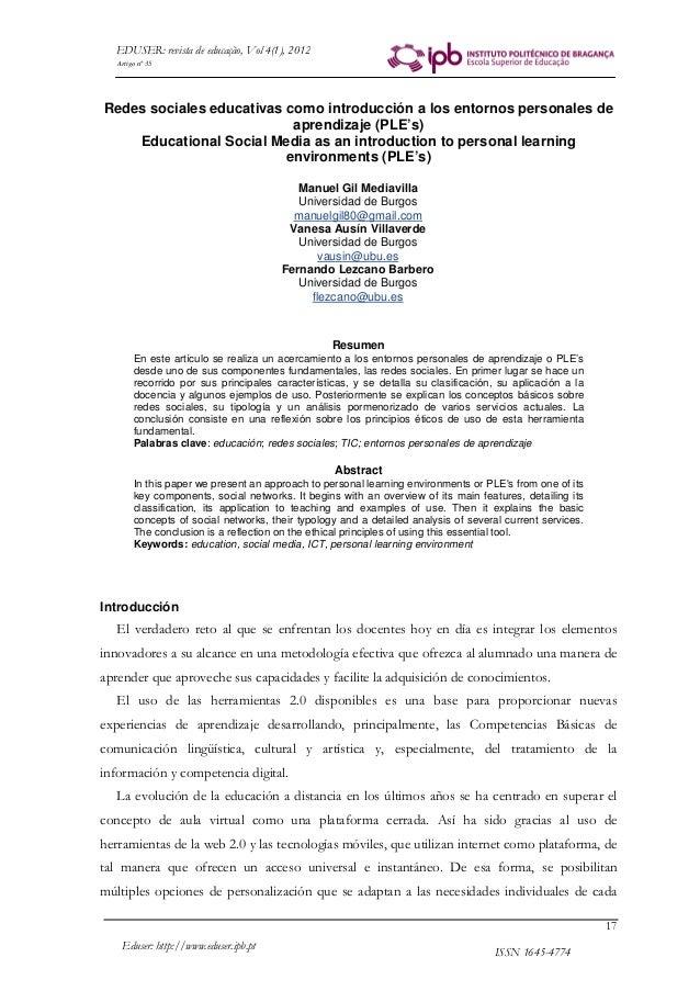 ISSN 1645-4774Eduser: http://www.eduser.ipb.pt 17 EDUSER: revista de educação, Vol 4(1), 2012 Redes sociales educativas co...