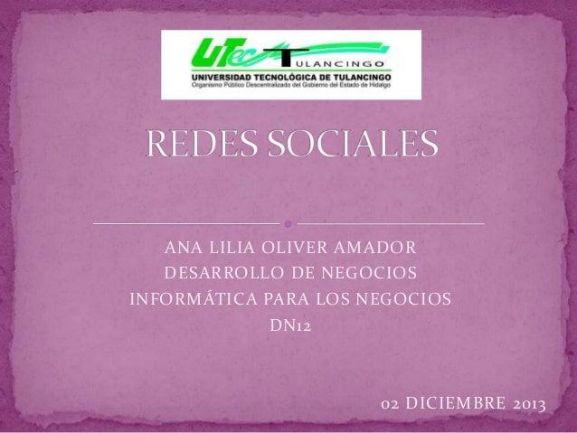 ANA LILIA OLIVER AMADOR DESARROLLO DE NEGOCIOS INFORMÁTICA PARA LOS NEGOCIOS DN12  02 DICIEMBRE 2013