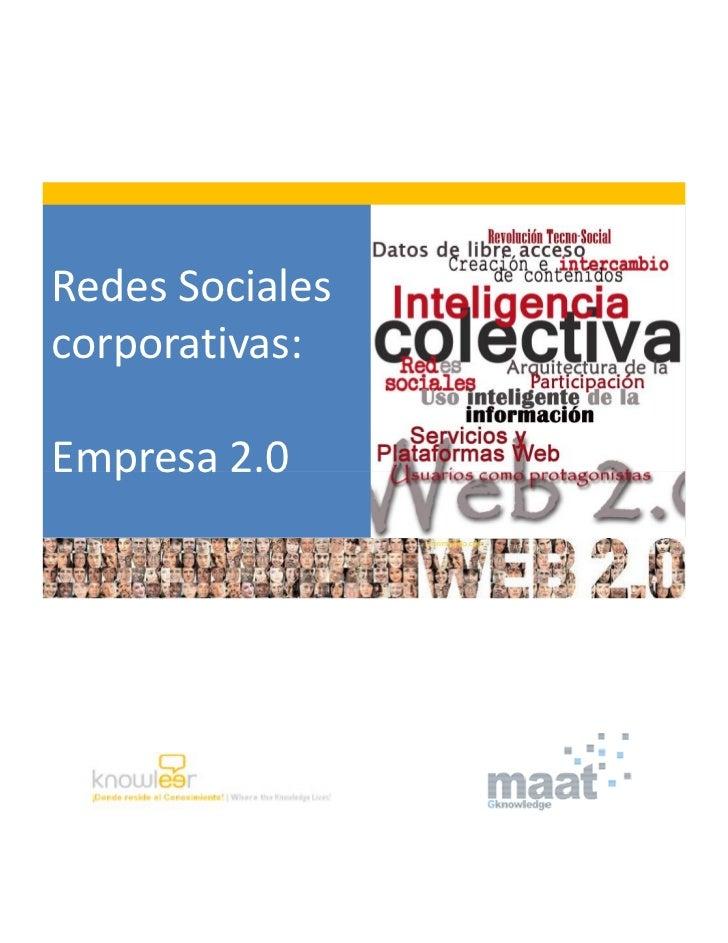 Redes Socialescorporativas:Empresa 2.0