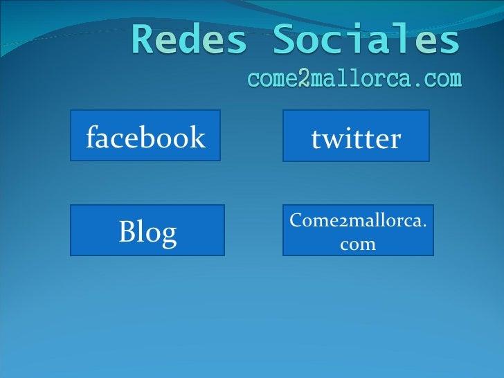facebook twitter Blog Come2mallorca.com
