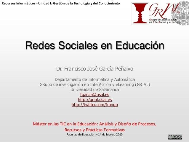 Recursos Informáticos - Unidad I: Gestión de la Tecnología y del Conocimiento  Redes Sociales en Educación Dr. Francisco J...