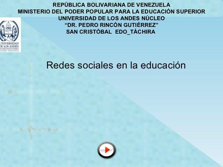 REPÚBLICA BOLIVARIANA DE VENEZUELA MINISTERIO DEL PODER POPULAR PARA LA EDUCACIÓN SUPERIOR UNIVERSIDAD DE LOS ANDES NÚCLEO...
