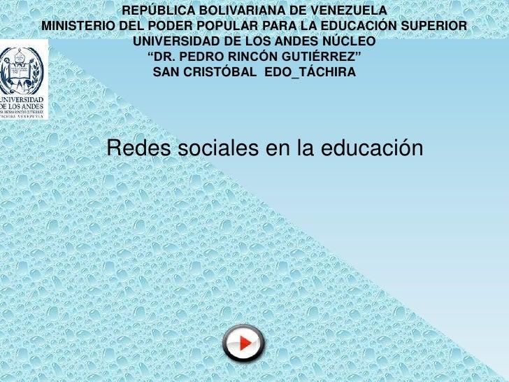 REPÚBLICA BOLIVARIANA DE VENEZUELA MINISTERIO DEL PODER POPULAR PARA LA EDUCACIÓN SUPERIOR              UNIVERSIDAD DE LOS...