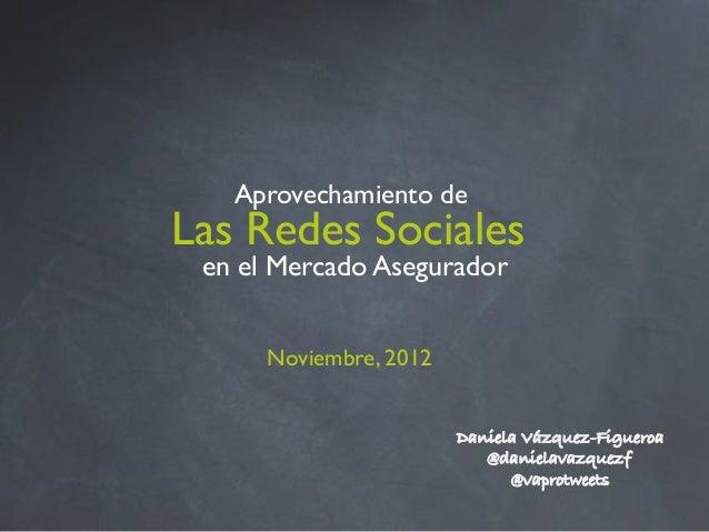 Aprovechamiento de!Las Redes Sociales! en el Mercado Asegurador                        !      Noviembre, 2012!            ...