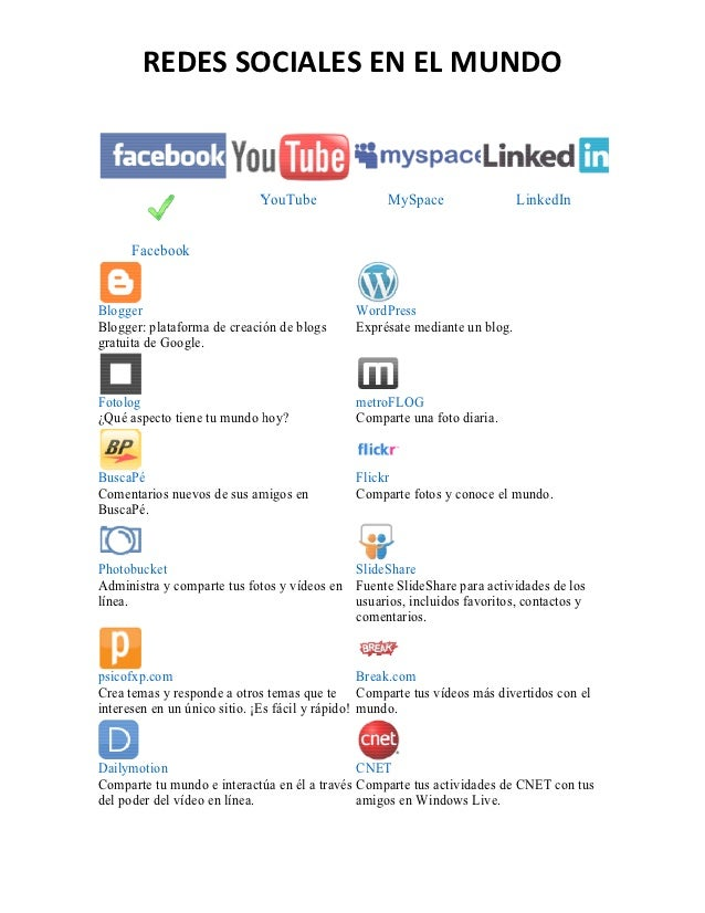 REDES SOCIALES EN EL MUNDO                            YouTube                MySpace                 LinkedIn     Facebook...