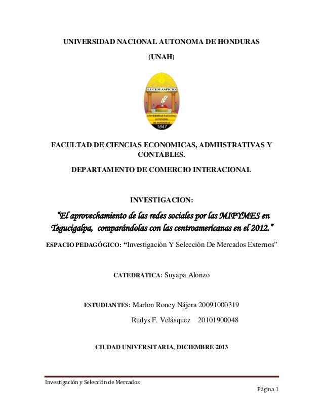 UNIVERSIDAD NACIONAL AUTONOMA DE HONDURAS (UNAH)  FACULTAD DE CIENCIAS ECONOMICAS, ADMIISTRATIVAS Y CONTABLES. DEPARTAMENT...