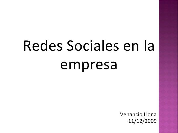 Redes Sociales en la empresa Venancio Llona 11/12/2009