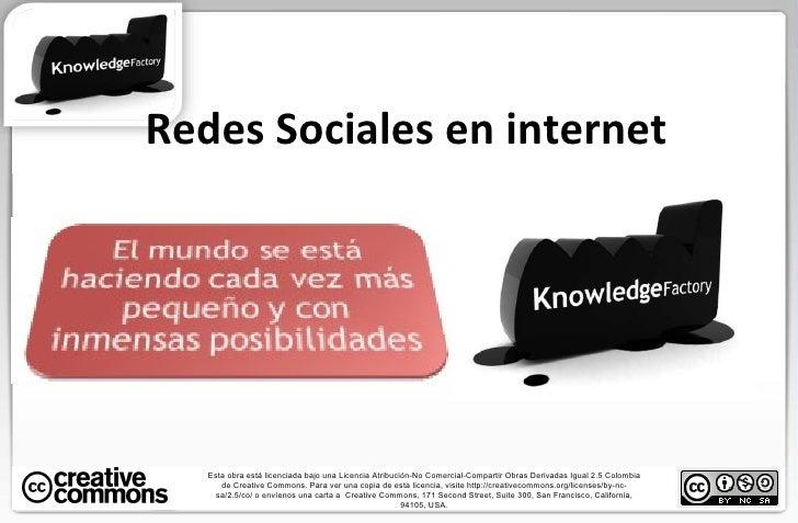 Redes Sociales en internet Esta obra está licenciada bajo una Licencia Atribución-No Comercial-Compartir Obras Derivadas I...