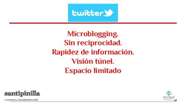 Microblogging. Sin reciprocidad. Rapidez de información. Visión túnel. Espacio limitado