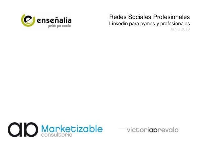 Redes Sociales ProfesionalesLinkedin para pymes y profesionalesJunio 2013