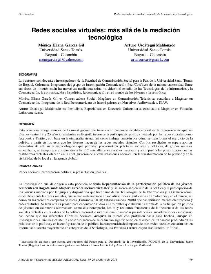 García et al.                                                          Redes sociales virtuales: más allá de la mediación ...