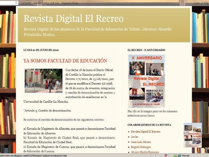 Experiencias en RedFacebook-Magisterio Toledo
