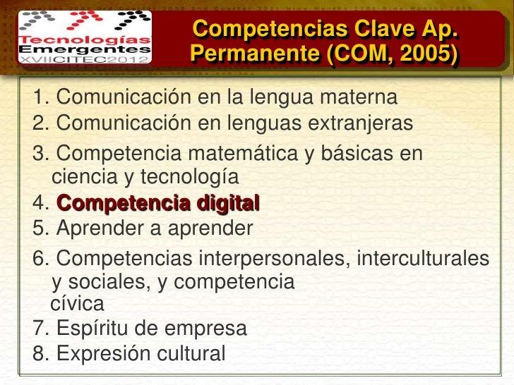 Competencias Clave Ap.                Permanente (COM, 2005)1. Comunicación en la lengua materna2. Comunicación en lenguas...