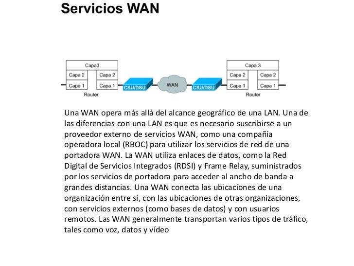 Una WAN opera más allá del alcance geográfico de una LAN. Una delas diferencias con una LAN es que es necesario suscribirs...