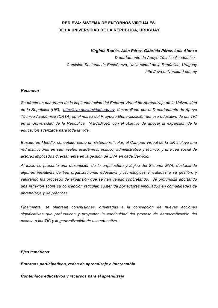 RED EVA: SISTEMA DE ENTORNOS VIRTUALES                     DE LA UNIVERSIDAD DE LA REPÚBLICA, URUGUAY                     ...