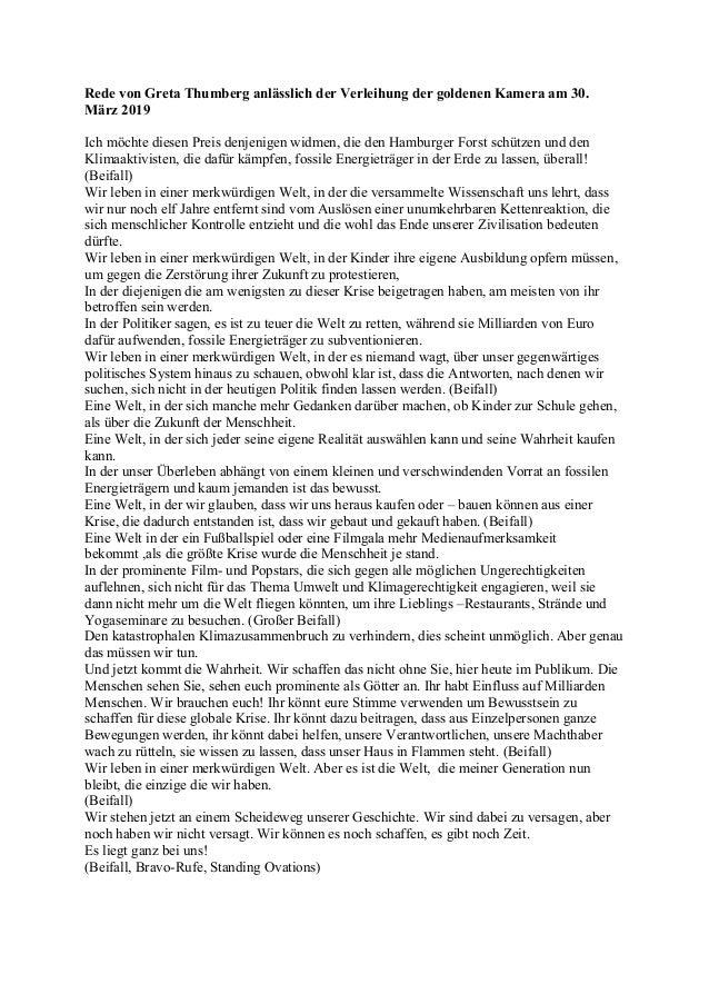 Rede von Greta Thumberg anlässlich der Verleihung der goldenen Kamera am 30. März 2019 Ich möchte diesen Preis denjenigen ...