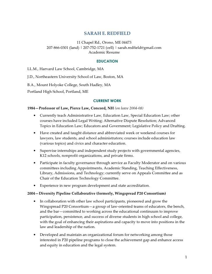 redfield academic resume 09 sarah e redfield 11 chapel rd orono - Academic Resume Sample