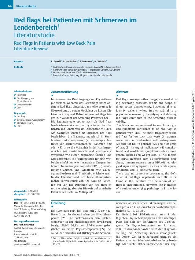 Red flags bei Patienten mit Schmerzen im Lendenbereich1 Literaturstudie Red Flags in Patients with Low Back Pain Literatur...