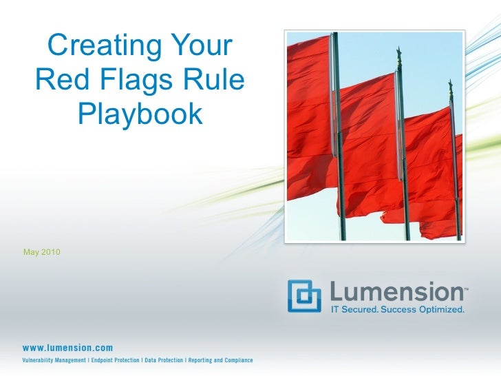 Creating Your Red Flags Rule Playbook May 2010