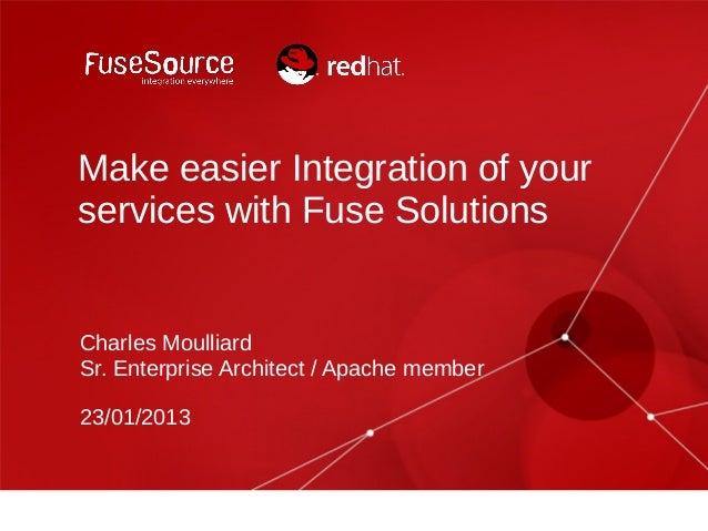 Make easier Integration of yourservices with Fuse SolutionsCharles MoulliardSr. Enterprise Architect / Apache member23/01/...
