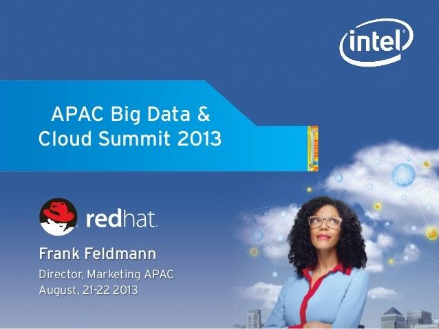 APAC Big Data & Cloud Summit 2013 Frank Feldmann Director, Marketing APAC August, 21-22 2013