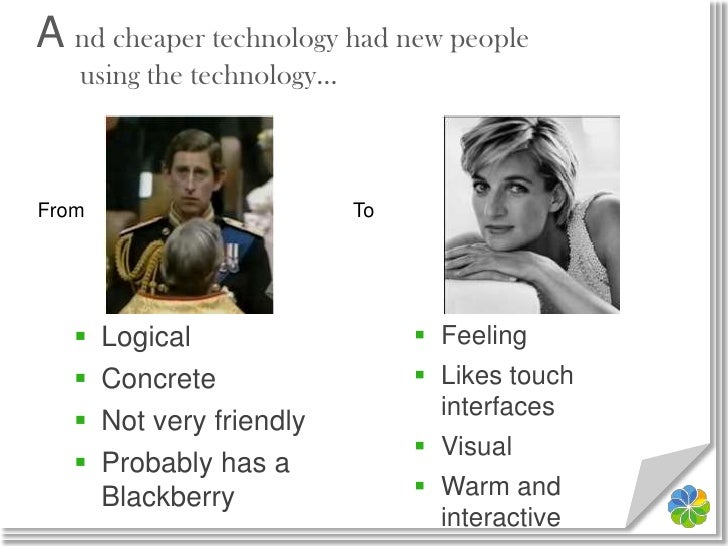 A nd cheaper technology had new peopleusing the technology…<br />To<br />From<br />Feeling<br />Likes touch interfaces<br ...