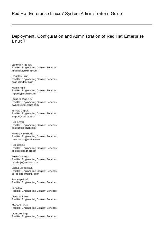 RHEL-7 Administrator Guide for RedHat 7