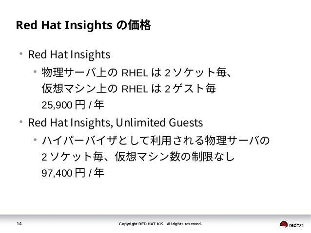 Copyright RED HAT K.K. All rights reserved.14 Red Hat Insights の価格 ● Red Hat Insights ● 物理サーバ上の RHEL は 2 ソケット毎、 仮想マシン上の RH...