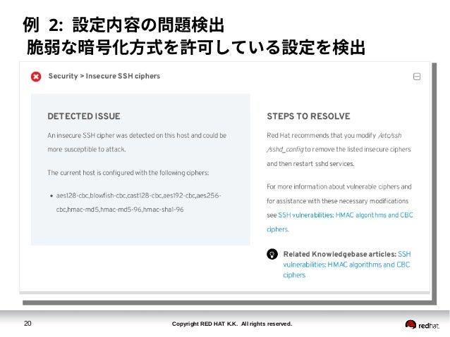 Copyright RED HAT K.K. All rights reserved.20 例 2: 設定内容の問題検出 脆弱な暗号化方式を許可している設定を検出