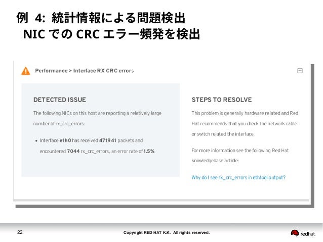 Copyright RED HAT K.K. All rights reserved.22 例 4: 統計情報による問題検出 NIC での CRC エラー頻発を検出
