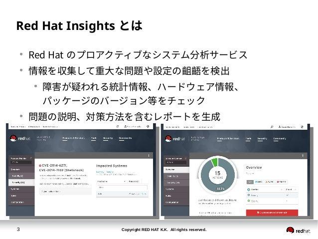 Copyright RED HAT K.K. All rights reserved.3 Red Hat Insights とは ● Red Hat のプロアクティブなシステム分析サービス ● 情報を収集して重大な問題や設定の齟齬を検出 ● 障...