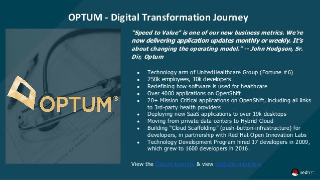 """OPTUM - Digital Transformation Journey """"Speed to Value"""" is one of our new business metrics. We're now delivering applicati..."""