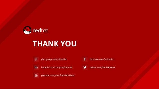 THANK YOU plus.google.com/+RedHat linkedin.com/company/red-hat youtube.com/user/RedHatVideos facebook.com/redhatinc twitte...