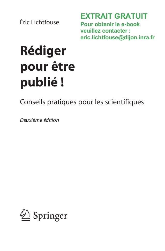 Rédiger pour être publié ! Conseils pratiques aux scientifiques. Extrait Slide 2