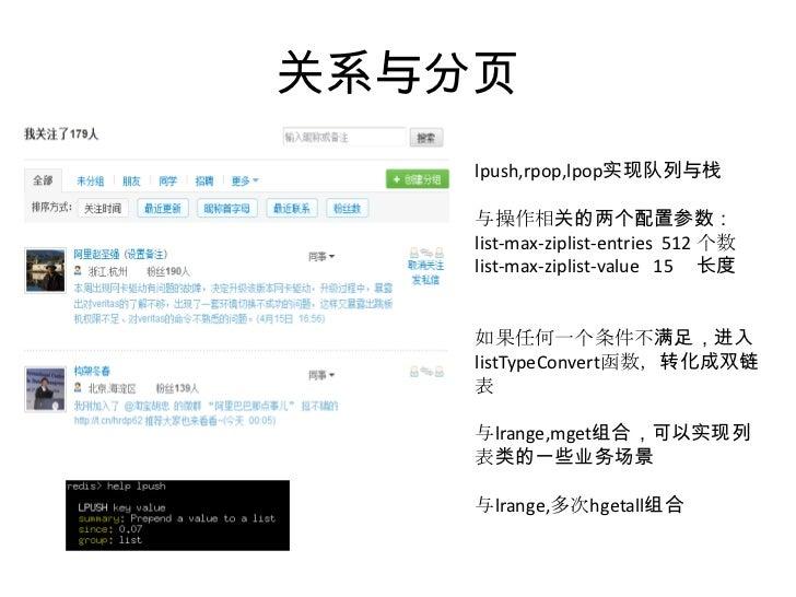 关系与分页<br />lpush,rpop,lpop实现队列与栈<br />与操作相关的两个配置参数:<br />list-max-ziplist-entries  512 个数<br />list-max-ziplist-value   15...