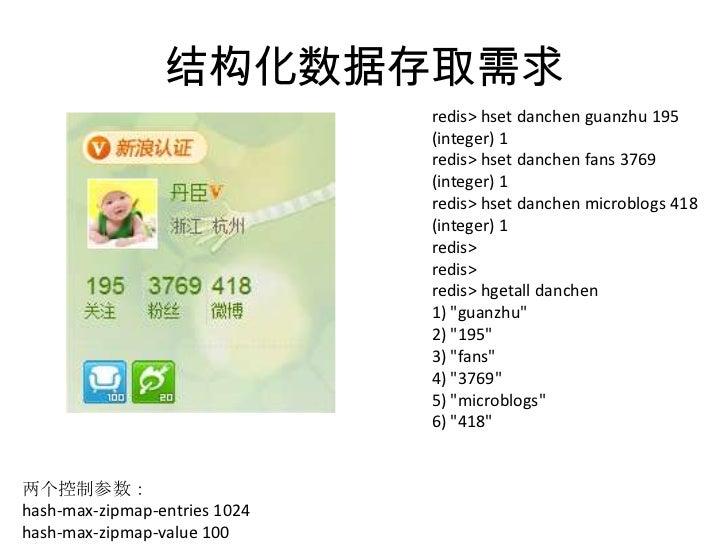 结构化数据存取需求<br />redis> hsetdanchenguanzhu 195<br />(integer) 1<br />redis> hsetdanchen fans 3769<br />(integer) 1<br />redi...