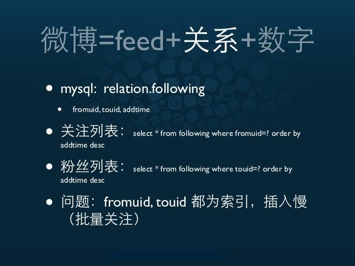 =feed+                                   +• mysql: relation.following    •   fromuid, touid, addtime•   addtime desc      ...