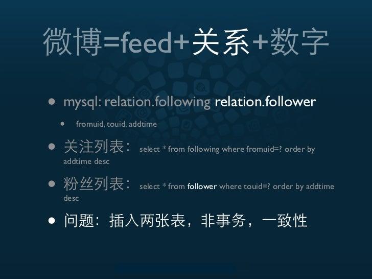 =feed+                                   +• mysql: relation.following relation.follower    •   fromuid, touid, addtime•   ...