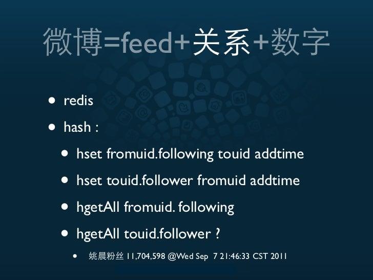 =feed+                            +• redis• hash : • hset fromuid.following touid addtime • hset touid.follower fromuid ad...